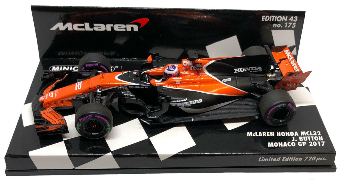 Minichamps McLaren MCL32 Monaco GP 2017 - Jenson Button 1 43 Scale