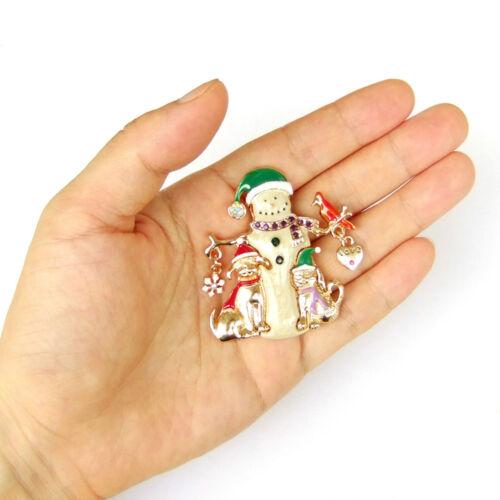 Nouveau Noël Décoration Arbre de Noël étoile cristal strass émail Broche Pin