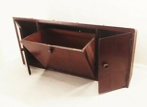 Vtg-antique-Singer-sewing-machine-cabinet-wood-drawers-fold-out-center