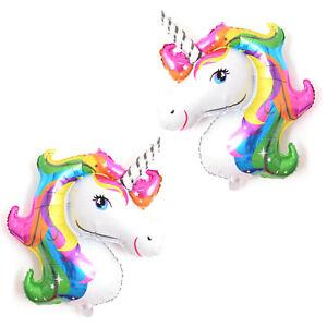 2X-Einhorn-Pferd-Regenbogen-Folienballon-Luftballon-Ballon-Geburtstag-Fancy