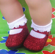 Valentine's Day Red Glitter Sparkle Shoes for Bitty Baby + Twins Doll Clothes