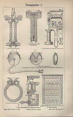 Praktisch Lithografie 1895: Fernsprecher I/ii. Von Siemens Bells Vielfachschaltschrank Fer