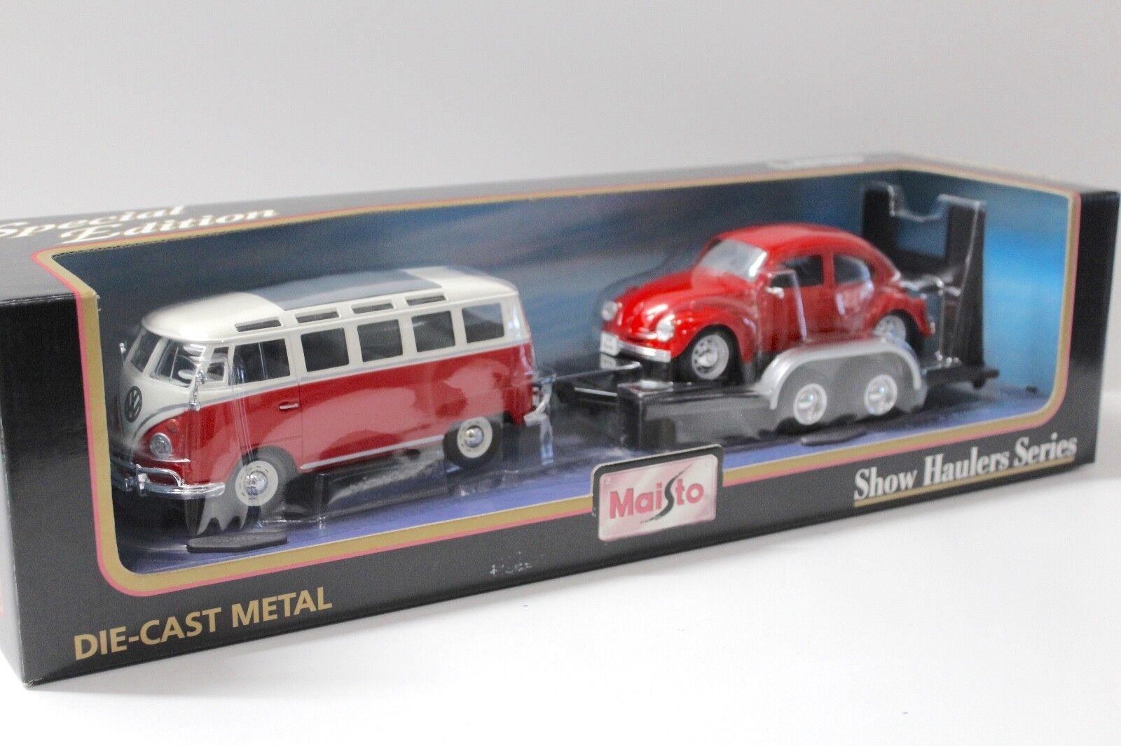 1 24 Maisto Set VW t1 bulli + VW MAGGIOLINO + TRAILER rosso NEW in Premium-MODELCARS