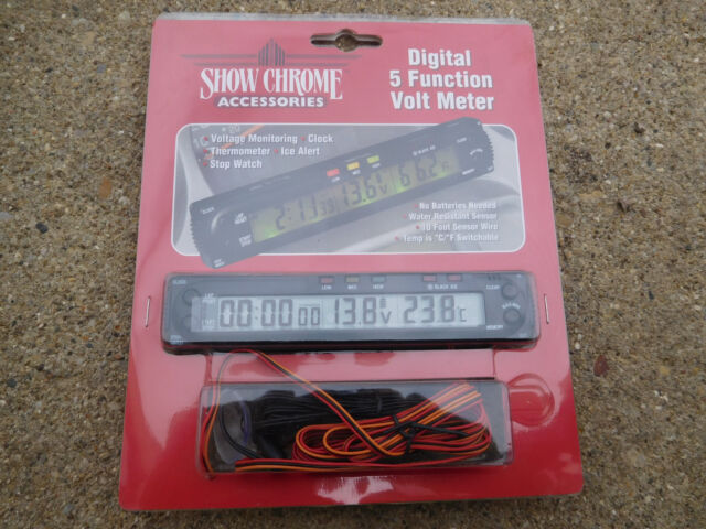 MOTORCYCLE ATV BOAT DIGITAL 5 FUNCTION VOLT METER /CLOCK/THERMOMETER/STOP WATCH
