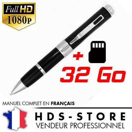 PENCAM8 STYLO CAMERA ESPION FULL HD 1080P MICRO SD 32 GO VIDÉO PHOTO AUDIO