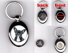 FRENCH BULLDOG PUPPY DOG TROLLEY COIN TOKEN KEYRING ANIMAL PET LOVER PHOTO GIFT