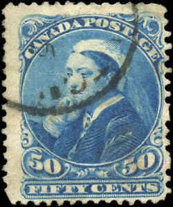 1893-Used-Canada-50c-F-Scott-47-Small-Queen-Stamp