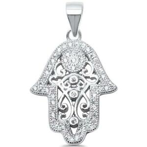 925 Solid Sterling Silver Hamsa Eviel Eye Charm Necklace. Sterling Silver Hamsa Hand Charm With Evil Eye