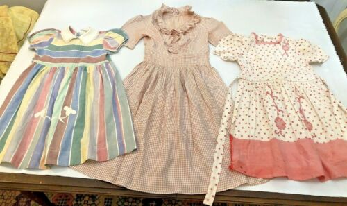 Vintage Girls Dresses 3 1940s 1950s Cotton Rayon P