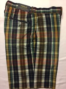 aa95427fae0c Polo Ralph Lauren Navy Blue Red Madras Flat Front Plaid Classic Fit ...