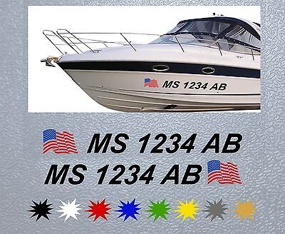 """Blue Boat Registration Numbers Decals Custom Vinyl Coast Guard Approved 3/"""" Pair"""