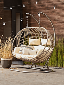 Cox & Cox Stylish Faux Wicker Double Indoor / Outdoor Hanging Chair - RRP £675