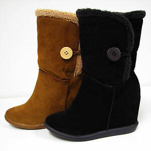 Women&amp039s Winter Boots Button Fleece Lined Fur Top Heel Hidden