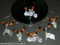 6 Crystal Silver Motorcycle Wine Glass Charms Drink Markers Harley Bike Colors