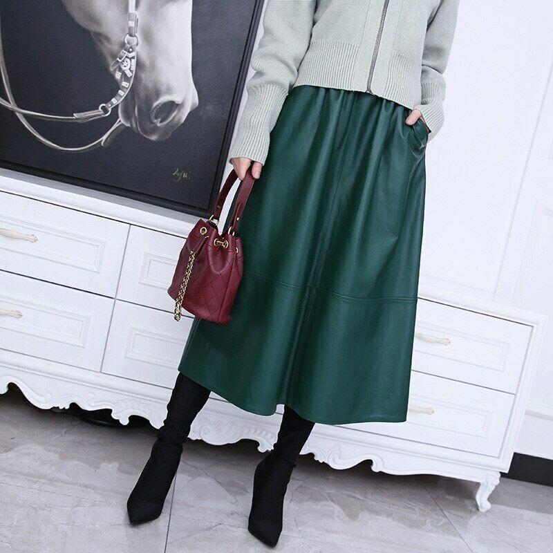2021 Damen Lang Leder Jacke Mode Autumn Rock Echtes Schaffell Kleid 4TF8299