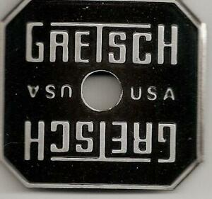 Gretsch-USA-Black-Broadkaster-Drum-Badge-Name-Plate-Snare-Tom-Bass-NOS