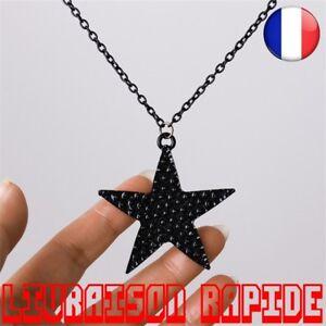 Collier-Long-Bijoux-Mode-Noir-Etoile-Pendentif-Femme-Hip-Hop-Punk-Strass-Star