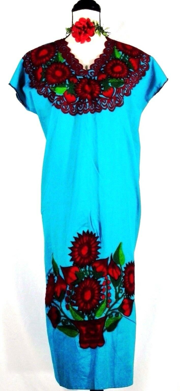 Vintage Mexico Dress Huipil Peasant Embroidered Turquoise Oaxaca Cotton XL NWT