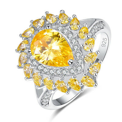 Cocktail Party Jewelry Pear Citrine /& White Topaz Gemstone Silver Ring Size 6789