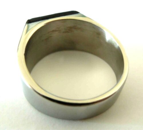 man/'s 316 L stainless steel black onyx gemstone unique ring size 9,12,13