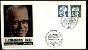 West-Germany-1971-50pf-80pf-President-Heinemann-FDC-First-Day-Cover-C35665