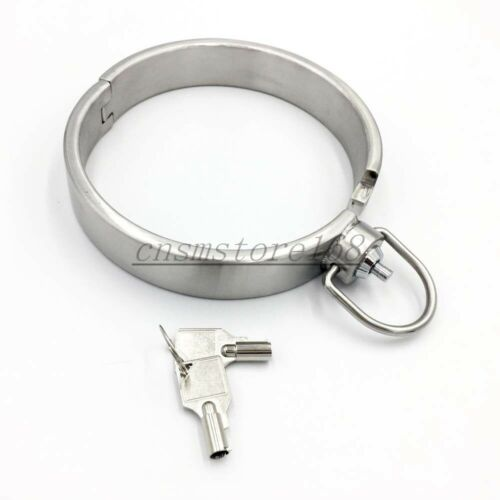 Bondage High Heavy Stainless Steel Handcuffs Collar-Wrist-Anklets Slave Shackle