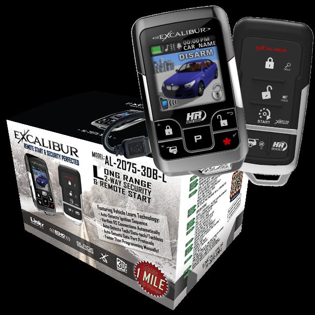 NEW Excalibur 1 Mile Color 2 Way Security /& Remote Start Alarm Combo AL20753DBL