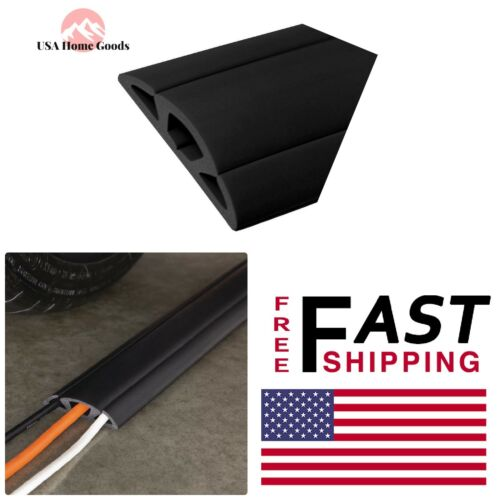 3 Channel Rubber Cable Cover Electrical Flat Wire Black Cord Protector 15 ft