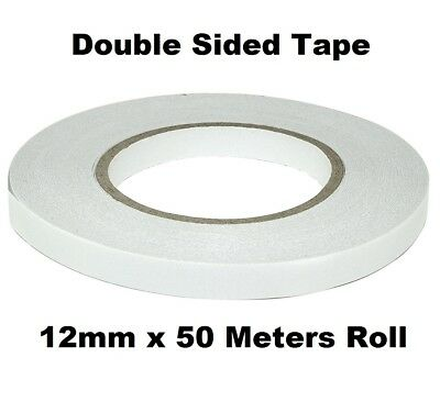 1 Roll Clear Double Sided Sticky Tape Strong Permanent Adhesive Sellotape 12mm x 50 Meters