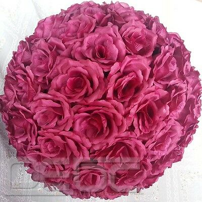 20 Colors Silk Rose Pomander Flower Kissing Ball Wedding Party Home Decoration #