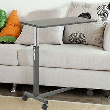Adjustable Height Overbed Eating Table Tray Hospital TV Laptop Food Cart No Tilt