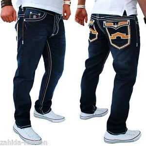 JEANS-Uomo-Designer-Kosmo-Pantaloni-Cargo-Style-Blu-Spessore-Cuciture-Clubwear-Lupo-Nuovo