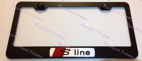 Audi SLINE S LINE LASER Style Black Stainless Steel License Plate Frame W//Caps