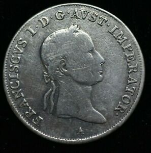 1831-A-AUSTRIA-FRANCIS-I-20-KREUZER-LARGE-SILVER-COIN-26mm-GREAT-COIN