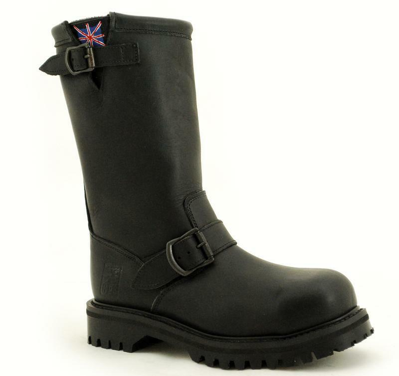 Premium Nps Made in England Black Crazy Biker Boots Steelcap Ns010-x11000bg
