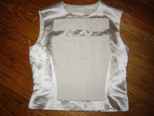 Rare Prada Vintage 1998 Runway Futuristic Raso Silk & Linen Patch Dress Top 44 L by Prada