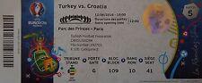 TICKET 12.6.2016 Turkey Türkei - Croatia Kroatien Match 5