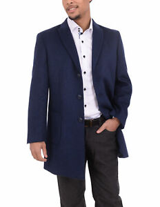 Mens-Solid-Navy-Blue-3-4-Length-Wool-Blend-Overcoat-Top-Coat-With-Peak-Lapels