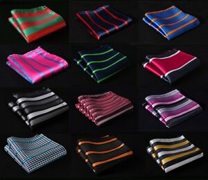 SA-Stripe-Men-Silk-Satin-Pocket-Square-Hanky-Wedding-Party-Handkerchief