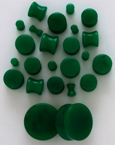 "1 Pair 1//2/"" 12mm Organic Dark Green Jade Stone Saddle Plugs Solid Gauges Flared"