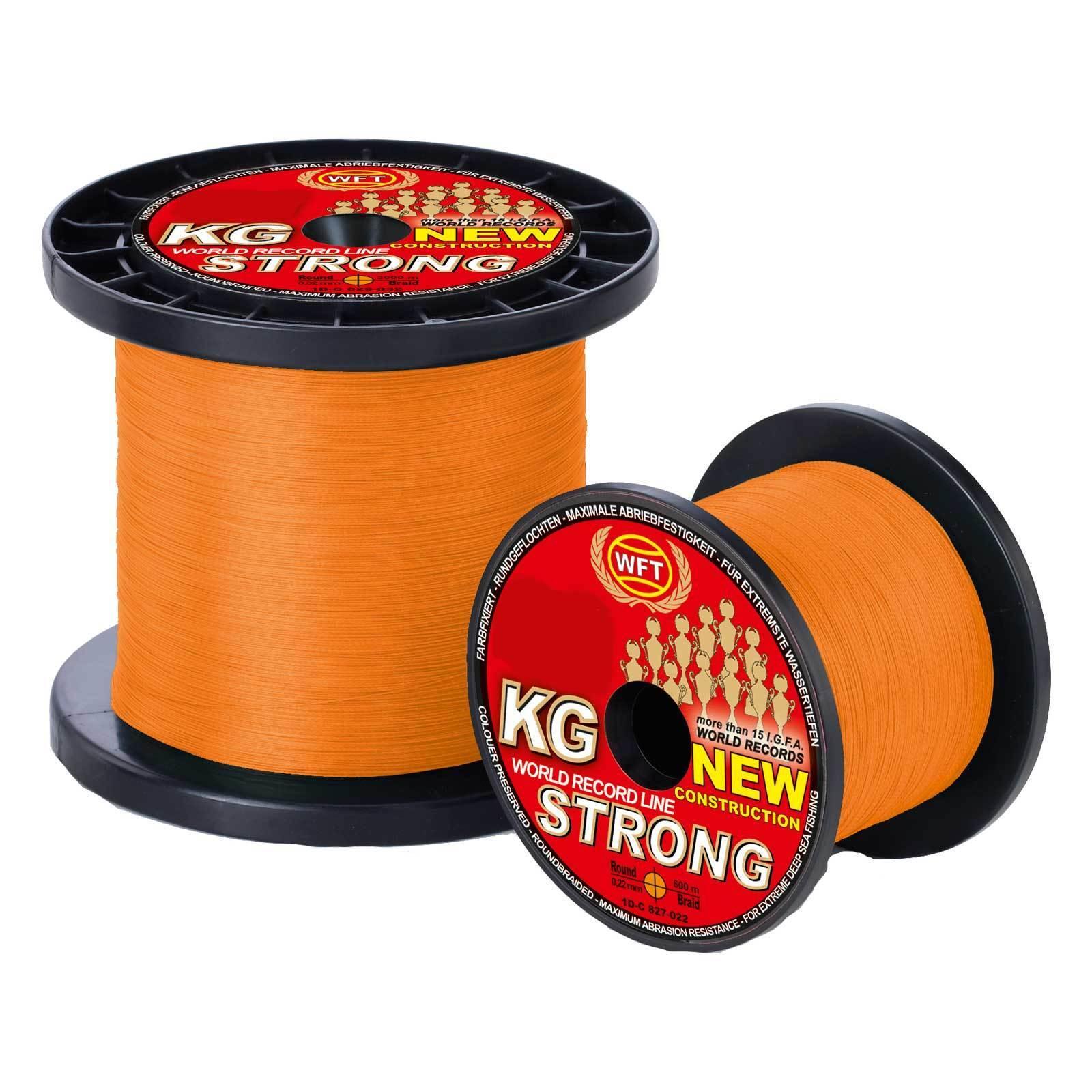 (0,17EUR m) WFT Geflochtene Angelschnur KG Strong Exact 39Kg 0,25 360m orange