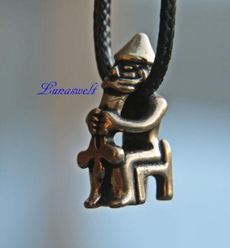 """Amulett /""""Sitzender Thor/"""" Bronze Abbild des sitzenden Gottes Thor"""