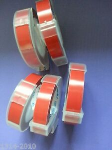 5 rolls x Dymo 3D Embossing Label 9mm x 3m in RED **CAZY SALES