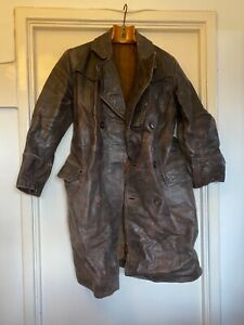 RARE-WWI-II-Genuine-First-World-War-Royal-Flying-Corps-leather-flying-coat-RAF