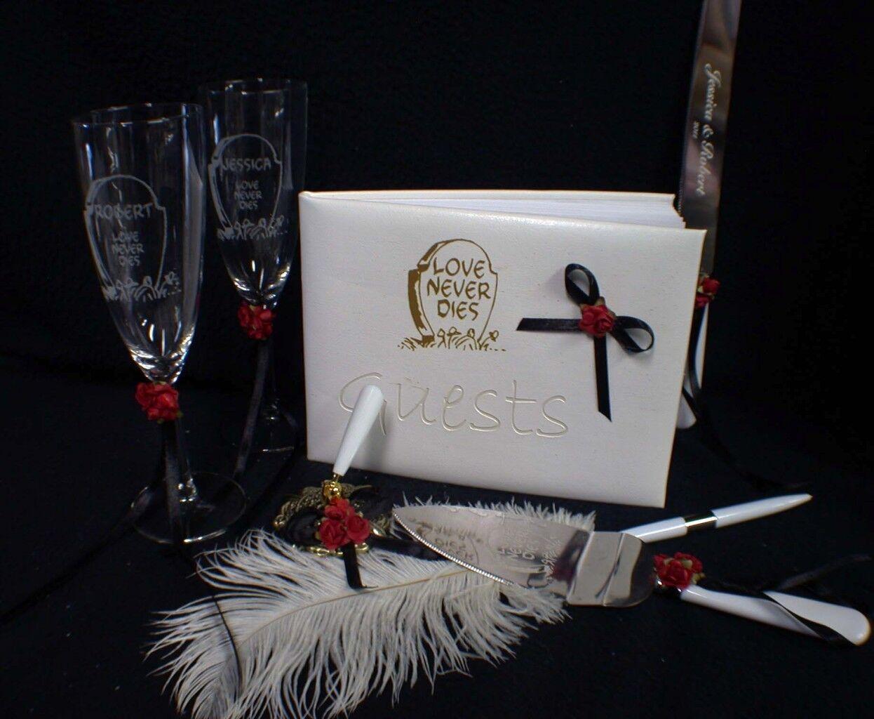 PERSONALIZE Halloween Wedding LOT Glasses Garter Cake knife & Server set. Guest