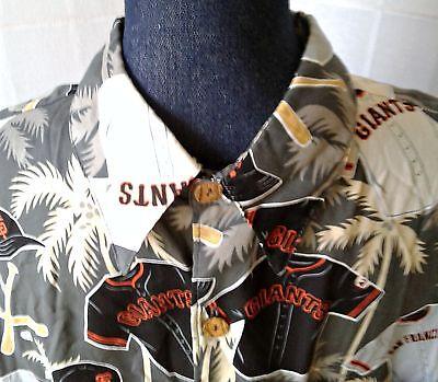 Reyn Spooner Camp Shirt San Francisco Giants Sz L Coconut Buttons Hawaiian