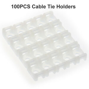 Self Adhesive Cable Tie Base Mounts 19//25//28mm Black or White