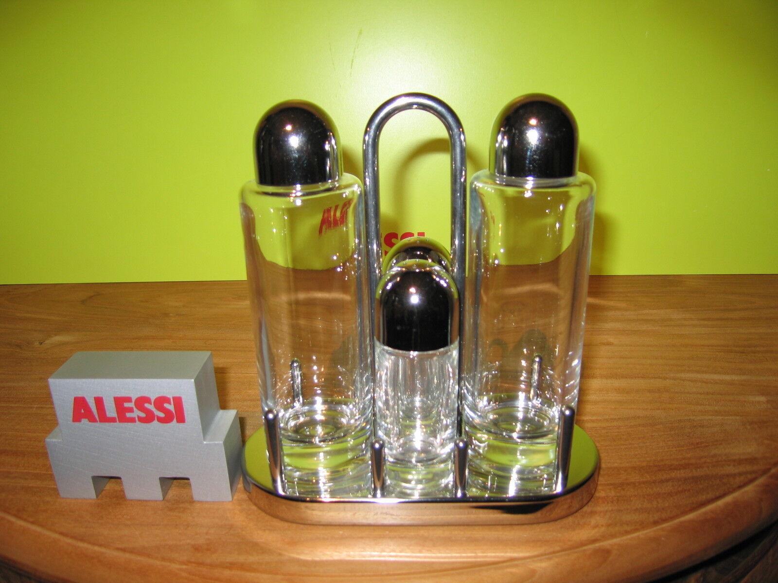 ALESSI NEW Service huile vinaigre sel poivre inox brillant 17,5x8cm 5070