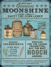 Moonshine Liquer Brewing Pub Bar Man Cave Shed Advertising Small Metal/Tin Sign