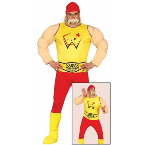Adults Wrestler Wrestling Hulk Hogan 80s 1980s Fancy Dress Costume Mens Outfit